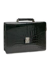 Brooks Brothers   Black Alligator Billfold Briefcase for Men   Lyst