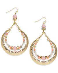 INC International Concepts - Gold-tone Pink Bead Crescent Drop Earrings - Lyst