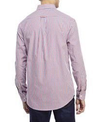 Izod - Red Button-Down Check Sport Shirt for Men - Lyst