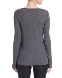 DKNY Gray Twisted-detail Cutout Top