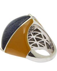 Eddie Borgo - Blue Navy Three Side Pyramid Sandstone Ring for Men - Lyst