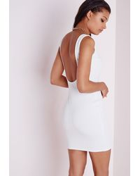 Missguided Scoop Back Bodycon Dress White Bandage