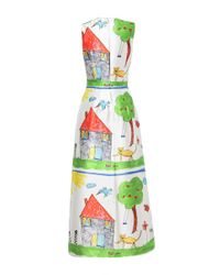 Dolce & Gabbana Multicolor Drawing Print Ankle-Length Dress