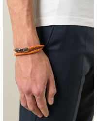 Tod's Orange Braided Bracelet for men