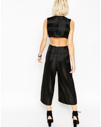 ASOS - Premium Jumpsuit With Satin Stripe And Cut Out Detail - Black - Lyst