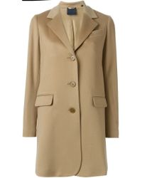 Aspesi - Natural Single Breasted Coat - Lyst