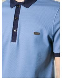 Burberry Blue Contrast Collar Polo Shirt for men