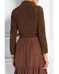 Saint Laurent - Brown Cropped Suede Jacket - Lyst