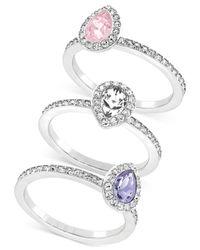 Swarovski | Metallic Rhodium-plated Pavé Tri-color Crystal Ring Set | Lyst
