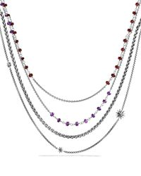 David Yurman - Metallic Starburst Necklace With Amethyst And Garnet - Lyst