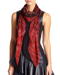 Alexander McQueen | Red Butterfly Flight Silk Shawl | Lyst