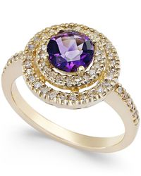 Macy's | Gray Amethyst (3/4 Ct. T.w.) And Diamond (3/10 Ct. T.w.) Halo Ring In 14k Gold | Lyst