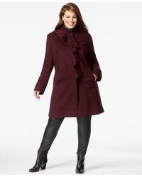 DKNY Purple Plus Size Ruffle-front Walker Coat