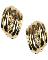 Anne Klein | Metallic Earrings, Gold-tone Button Clip On Earrings | Lyst