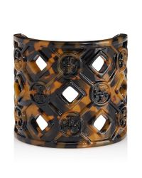 Tory Burch - Brown Perforated Resin Logo Cuff - Lyst