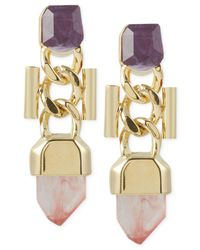 French Connection - Metallic Gold-Tone Curb Chain And Stone Drop Earrings - Lyst