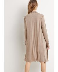 Forever 21 | Brown Heathered Longline Cardigan | Lyst