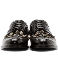 Dolce & Gabbana Black Patent Leather Bejeweled Brogues