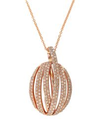 Effy | Metallic Diamond And 14K Rose Gold Pendant Necklace, 0.83 Tcw | Lyst
