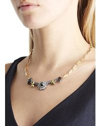 Iosselliani | Metallic Gold And Silver Plated Swarovski Necklace | Lyst