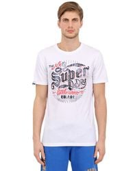 Superdry White Tin Tab Printed Cotton T-shirt