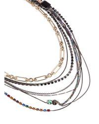 Iosselliani - Metallic Layer Chain Crystal Necklace - Lyst