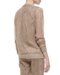 Brunello Cucinelli - Brown Luxury Knit Cashmere Sequin Cardigan - Lyst