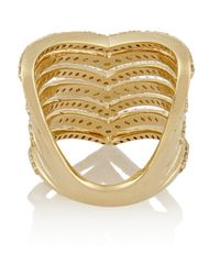 Lynn Ban Metallic Chevron 14-Karat Gold Diamond Phalanx Ring