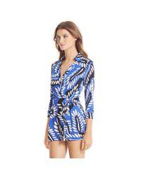 Diane von Furstenberg | Multicolor Celeste Silk Jersey Wrap Playsuit | Lyst