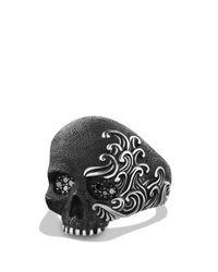 David Yurman Metallic Waves Large Skull Ring With Black Diamonds for men