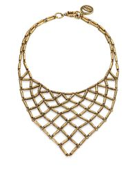 Giles & Brother - Metallic Antiqued Chain Mesh Bib Necklace - Lyst