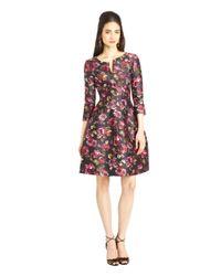 Oscar de la Renta - Purple Painted Rose Print Mikado Dress - Lyst
