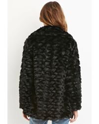 Forever 21 - Black Contemporary Faux Fur Coat - Lyst