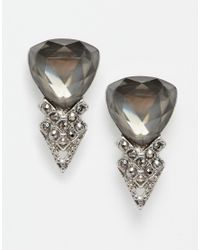 Oasis | Metallic Triangle Stone & Pave Earrings | Lyst
