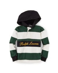 Ralph Lauren - Green Striped Cotton Hooded Rugby - Lyst