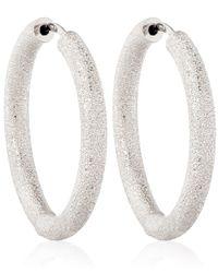 Carolina Bucci Thick White Gold Sparkle Hoop Earrings