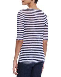 Neiman Marcus - Blue Striped Linen Half-sleeve Top - Lyst