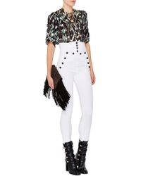 Isabel Marant White High Waisted Brandebourg Jean Nepos Pants