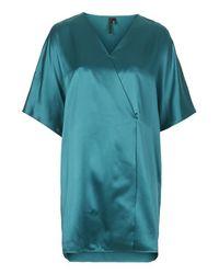 TOPSHOP Blue Silk Kimono Wrap Dress By Boutique