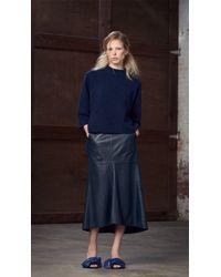 Tibi | Blue Leather Fluted Skirt | Lyst