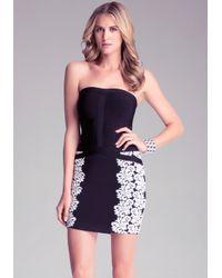 Bebe Black Jacquard Tube Dress