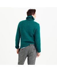 J.Crew Green Italian Wool Cable Turtleneck Sweater for men