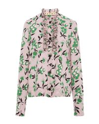 Marni Pink Sistowbell Floral Silk Crepe Blouse