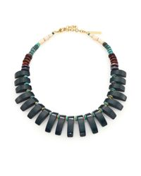 Lizzie Fortunato | Metallic Tile Semi-precious Multi-stone Bib Necklace | Lyst