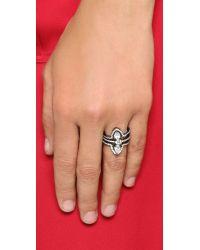 Noir Jewelry - Metallic Belvedere Stack Ring - Gunmetal/clear - Lyst