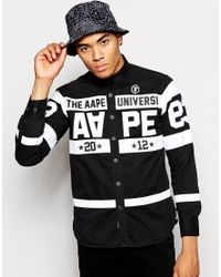 Aape Black By A Bathing Ape Shirt With Stripes And Patches for men