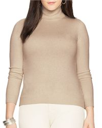 Lauren by Ralph Lauren | Brown Plus Silk-cotton Turtleneck Sweater | Lyst