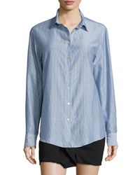 Isabel Marant - Blue Pinstriped Cotton-blend Button-down Blouse - Lyst