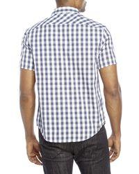 Original Penguin - Blue Classic Fit Short Sleeve Gingham Shirt for Men - Lyst