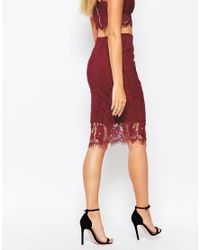 Missguided Purple Lace Pencil Skirt